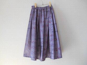 特別セール★薄紫色の大島紬リメイクスカートの画像