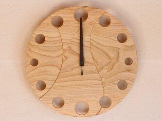 無垢の木の電波掛け時計 せん 0012の画像