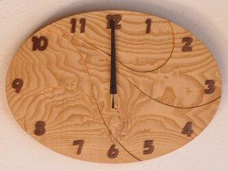 無垢の木の電波掛け時計 くり 0064の画像