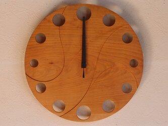 無垢の木の電波掛け時計 さくら 0010の画像