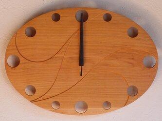 無垢の木の電波掛け時計 さくら 0011の画像