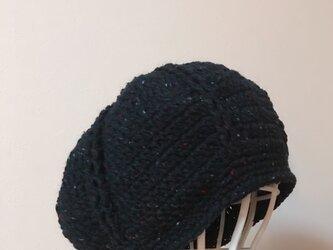 Sold out   再々販  黒ツイードのまあるいニット帽の画像