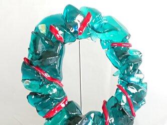 フューズドステンドグラス フュージングクリスマスリースの画像