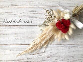 星月猫★「パンパスグラスとケイトウのクリスマスホワイトスワッグ」ドライフラワー 花束 スワッグの画像