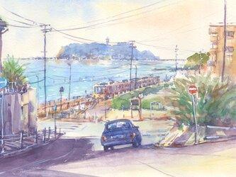 注文制作します 水彩画原画 江の島と江ノ電16(#396)の画像