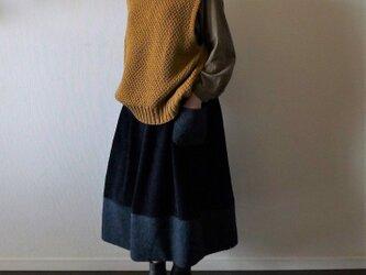 コーディロイとループボアの紺色クリスマススカート セミオーダーの画像
