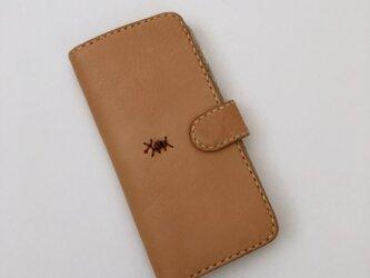 本革 手縫いの手帳型スマホケース(iPhone シリーズ 全機種)の画像