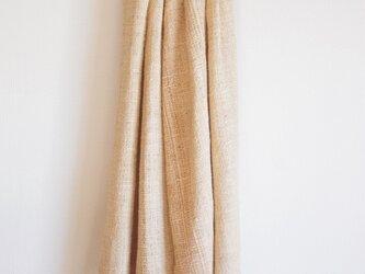 水引真綿の手織りマフラー 草木染・ベージュ の画像
