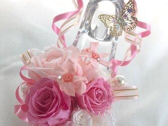 【プリザーブドフラワー/ガラスの靴シリーズ】プリンセスの魔法の時間【フラワーケースリボンラッピング付の画像