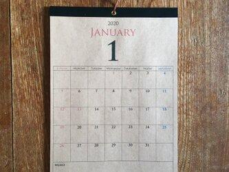 *2020年 9月始まり 壁掛けカレンダー*【クラフト紙/ブラウン/A4/ブラックテープ/切取式】の画像