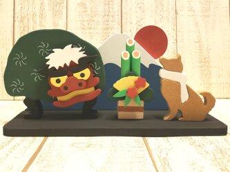 動物の変更も色変更も可能!お正月☆柴犬と獅子舞がいる正月飾り☆謹賀新年☆元旦☆2020年の画像