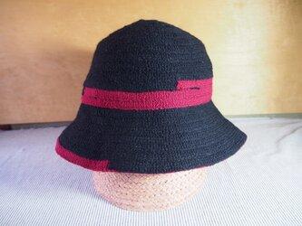 タイル切りかえキャペ(黒/ピンク)の画像