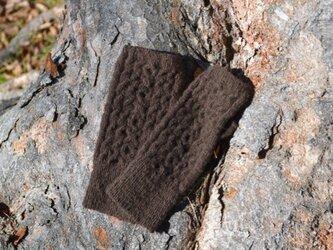 リストウォーマー・キット1・ヒマラヤで育ったヤクの手紡ぎ糸で編みましたの画像