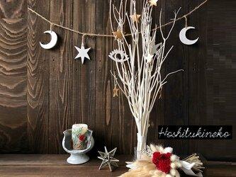 星月猫★「スターオーナメント付きホワイトツリー 大サイズ」ガラスホルダー付き 大人のクリスマスツリー インテリアなどにの画像