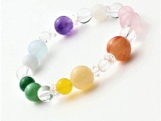 幸運を呼び込む☆虹の七色天然石 パワーストーンブレスレットの画像