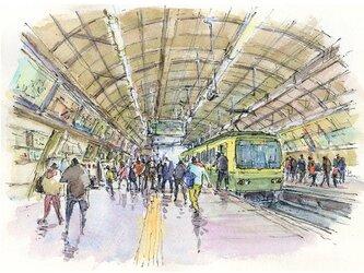 注文制作します 水彩画原画 江ノ電藤沢駅(#381)の画像