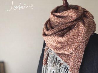 手織りオーバーショット カシミヤショール コーラルオレンジの画像