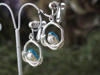 ルリビタキイヤリング 片耳の画像