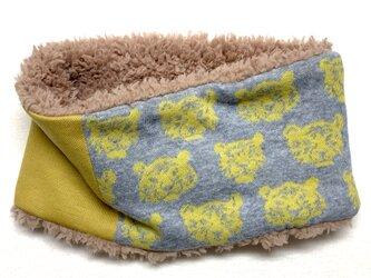 【即納可能】キッズサイズ☆とら虎トラ柄(黄色)+ふわふわプードルファーのネックウォーマーの画像