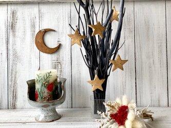 星月猫★「スターオーナメント付きブラックツリー 小サイズ」ガラスホルダー付き 大人のクリスマスツリー インテリアなどにの画像