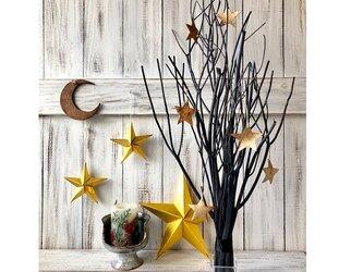 星月猫★「スターオーナメント付ブラックツリー 大サイズ」ガラスホルダー付き 大人のクリスマスツリー インテリアなどにの画像