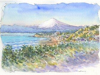 注文制作します 水彩画原画 湘南からの富士15(#385)の画像
