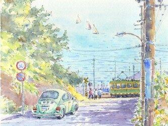 注文制作します 水彩画原画 江ノ電・七里ガ浜踏切15(#387)の画像
