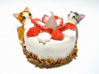 にゃんこのしっぽ○いちごのキャンドルケーキ○スイーツデコ○猫11の画像