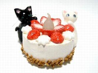 にゃんこのしっぽ○いちごのキャンドルケーキ○スイーツデコ○猫12の画像