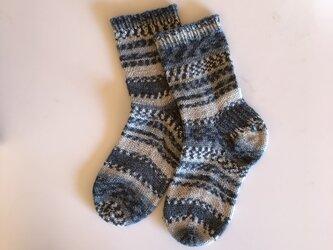 No.214 送料込手編み靴下 雪化粧の画像