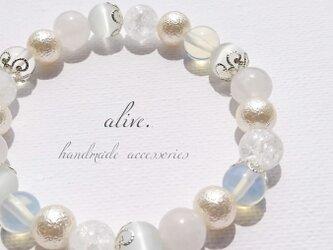 天然石ブレスレット023 alive 花 プレゼント 誕生日 雪 コットンパール シルバーの画像