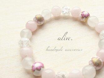 桜/春 天然石ブレスレット009 alive パワーストーン カジュアル 桃 シンプル 白 華 花 プレゼント 誕生日の画像