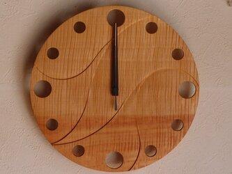 無垢の木の電波掛け時計 とち 0043の画像