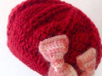 キッズニットリボンベレー帽の画像
