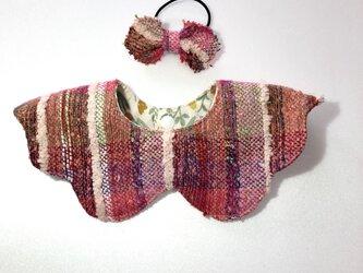 手織りで作ったオリジナル模様のつけ襟♪リバーシブルの画像