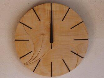 無垢の木の電波掛け時計 とち 0045の画像