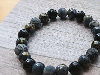天然石ブレスレット102 メンズ ユニセックス ペア ファッション プレゼント 誕生日 黒 モノトーン シンプルの画像