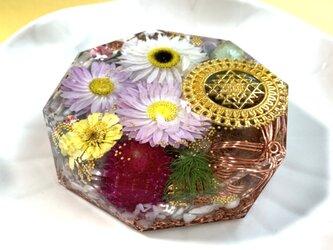 訳あり☆豊かな富をもたらすシュリヤントラ ケオン 愛情 ポジティブ 浄化 六芒星 幸運メモリーオイル入 コースター型オルゴナイトの画像