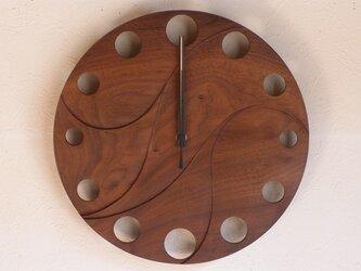 無垢の木の電波掛け時計 ブラックウォールナット 0050の画像
