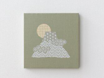 富士山-和柄のファブリックパネル M-605◆グリーン/白-ベージュの画像