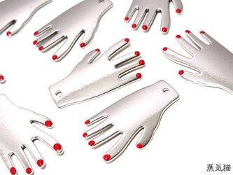 赤いネイルの手チャーム シルバー 6個【ハロウィン ピアスパーツ ハンドメイド素材】の画像