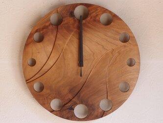 無垢の木の電波掛け時計 くるみ 0013の画像