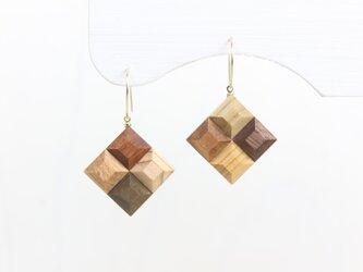 【新作】Wood Crystal スクエアピアス・イヤリングの画像