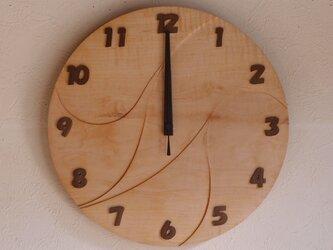 無垢の木の電波掛け時計 かえで 0012の画像