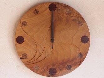 無垢の木の電波掛け時計 くるみ 0014の画像