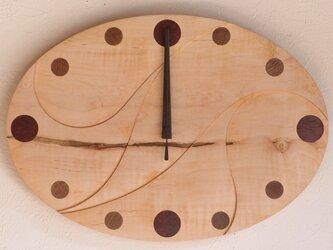 無垢の木の電波掛け時計 かえで 0014の画像