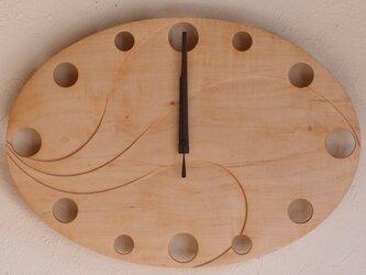 無垢の木の電波掛け時計 かえで 0015の画像