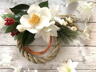 【2020迎春】白椿のお正月飾り◇ #しめ縄 #しめ縄飾り #お正月飾りの画像