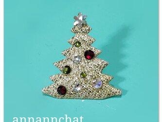 【 クリスマスツリー & スワロフスキー の ピンブローチ】 男性にもの画像