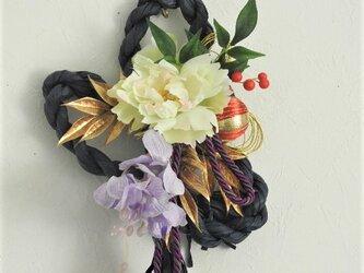 タッセルの華しめ縄飾り<白芍薬◆紫シンビジューム>の画像